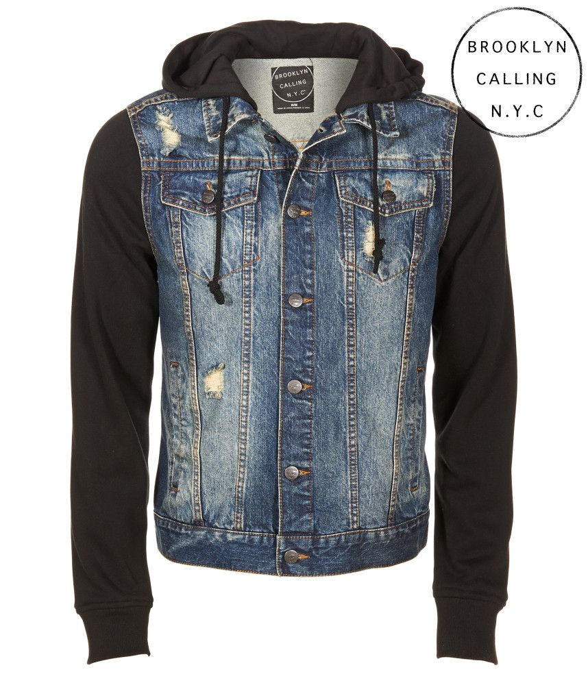 Brooklyn Calling Destroyed Denim Hoodie Jacket - Aeropostale ... 23e1633b12