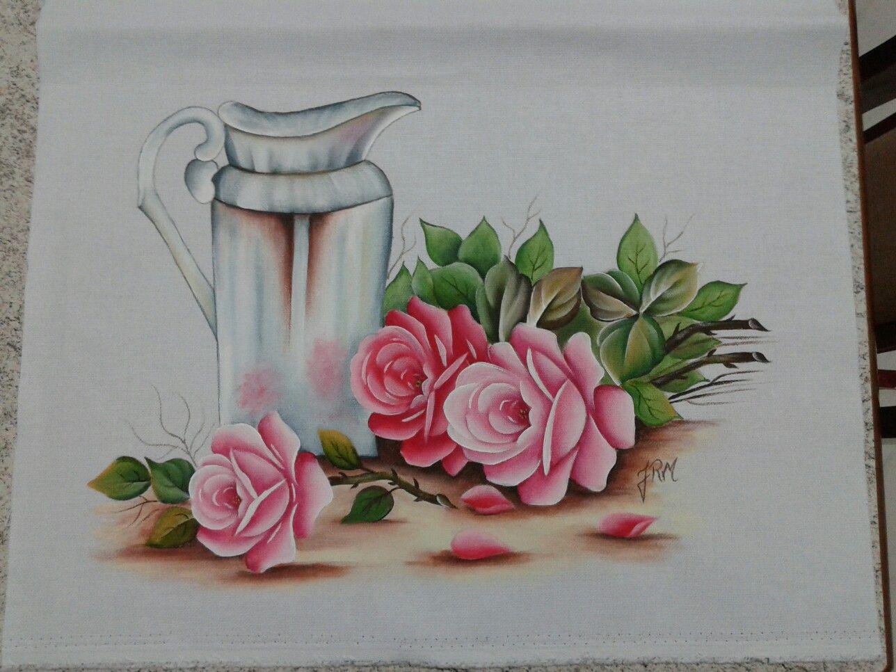 Pintura em tecido jarro e rosas minhas pinturas for Pintura para decoupage