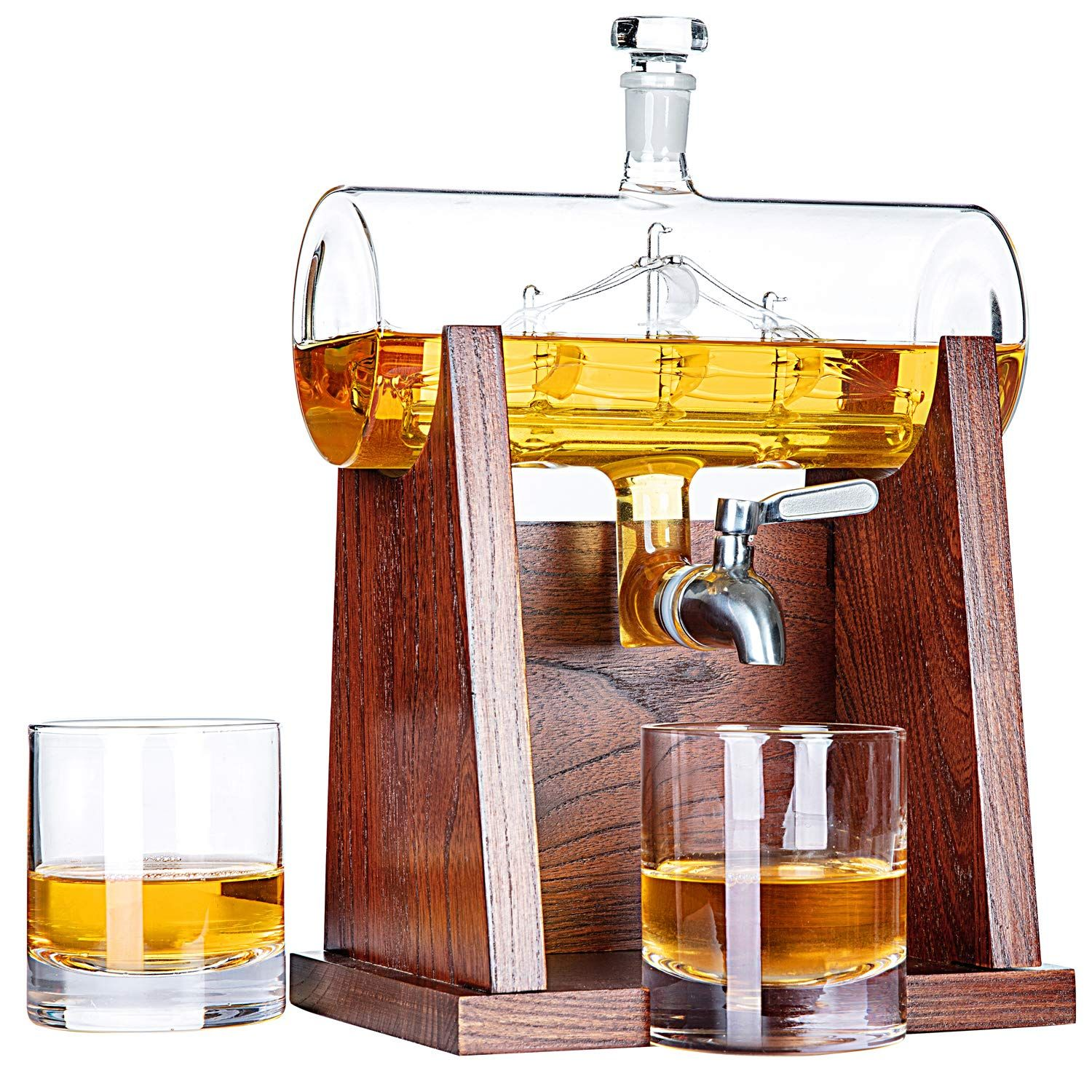 Whiskey Decanter Set with 2 Glasses. Birthday or Christmas