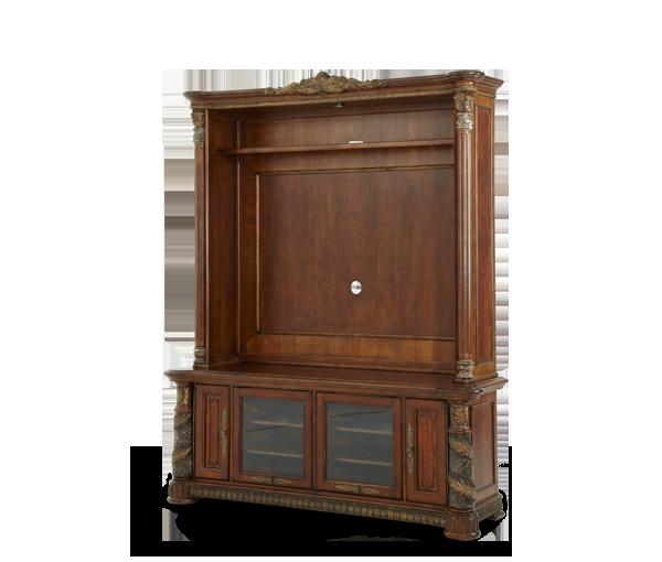 Entertainment Unit -(2 pc)|Villa Valencia®| Michael Amini Furniture Designs | amini.com | My bedroom.All the items in one cabinet,woo hoo!!! :-)