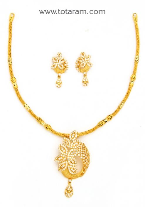 22K Gold Necklace Earring Set With Cz Totaram Jewelers Buy