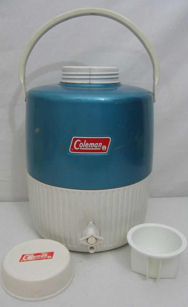 Vintage Coleman Rare Blue Steel 2 Gallon Cooler Water Jug Thermos Camping Picnic Camping Picnic Classic Outdoor Coleman