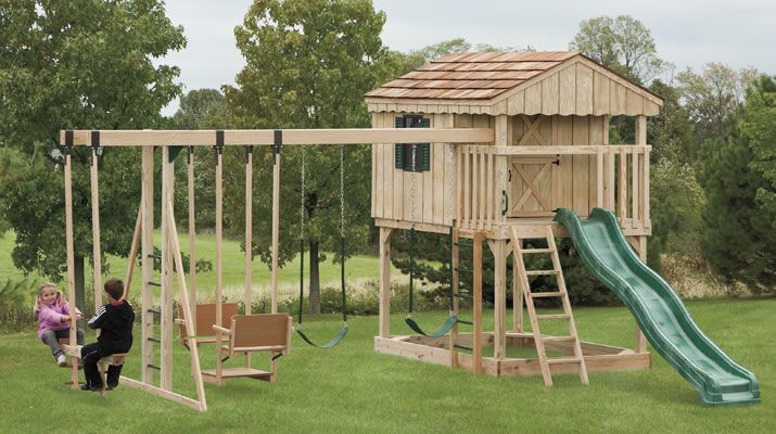 Amish Wood Glider Swing Swing Beam With Climber Bars 2 Swings