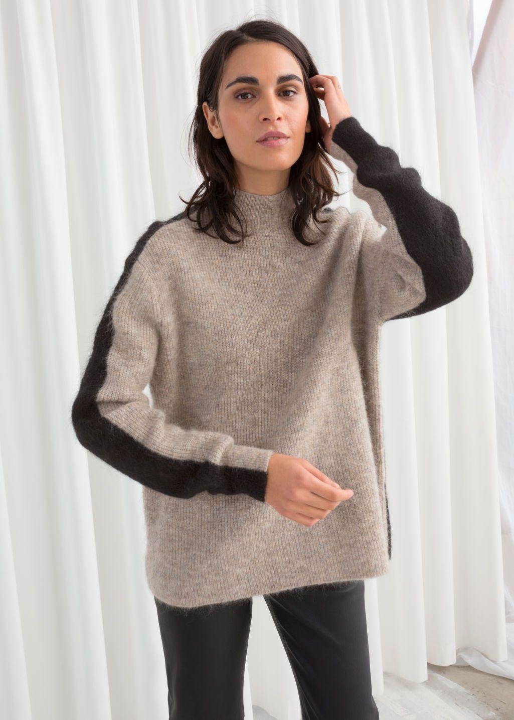Mock Neck Colour Block Sweater   Color block sweater