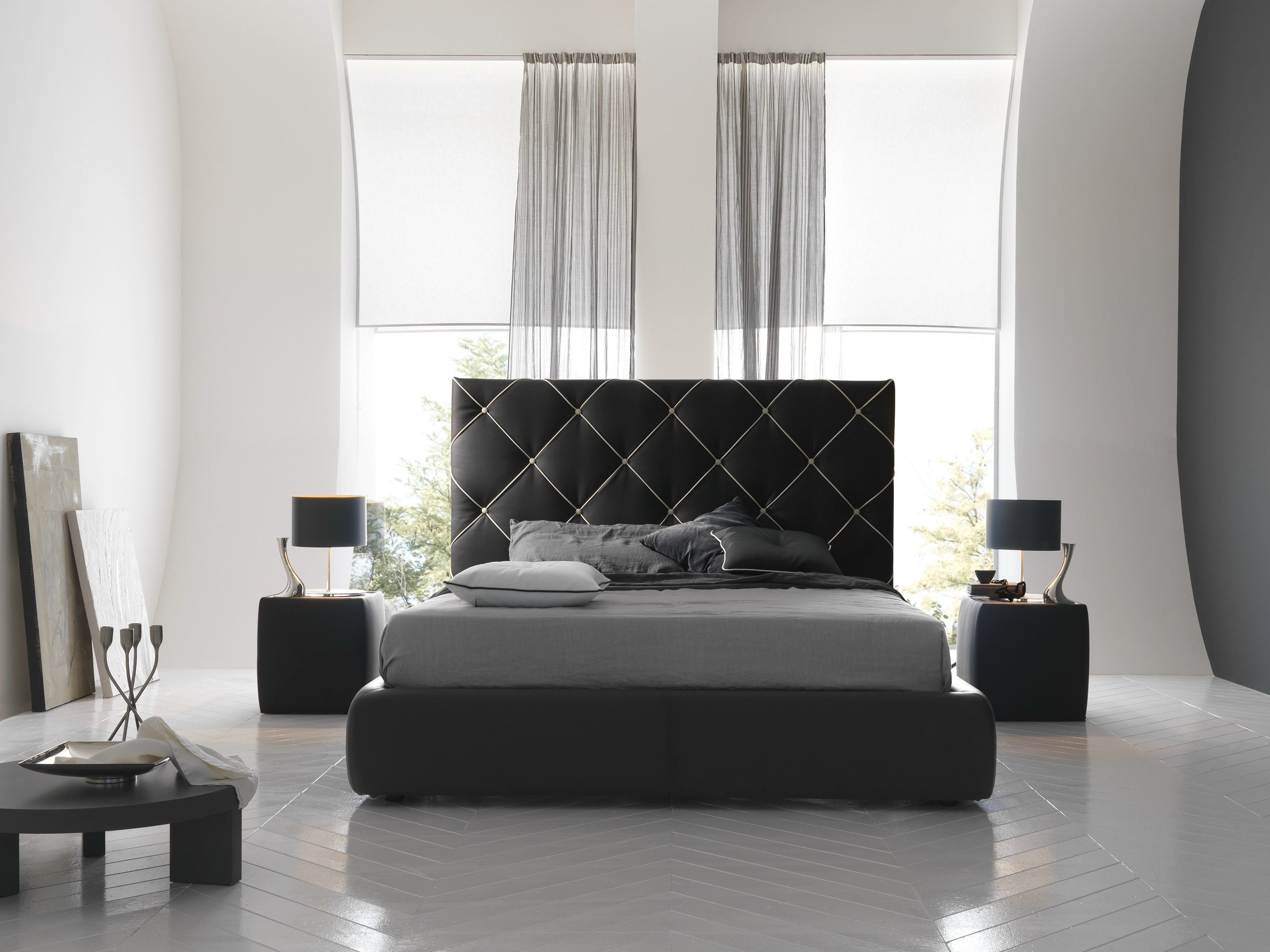 Double bed with tufted headboard DUBAI by Bolzan Letti