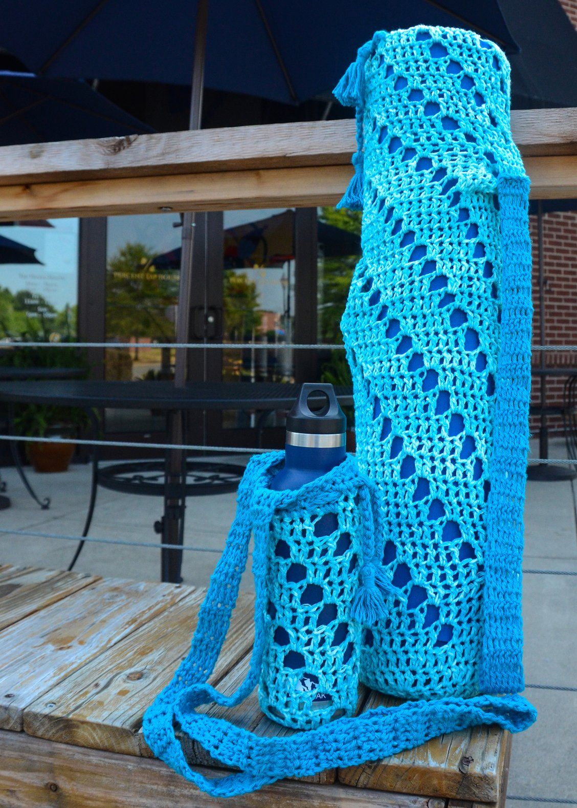 Yoga Mat Bag & Water Bottle Holder | Mat bag, Crochet ...