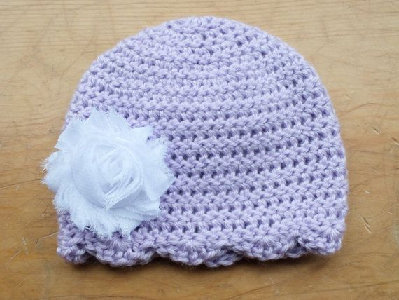 Light Purple Beanie featuring scalloped edge by Littlest Yarn Shop  To purchase: https://www.etsy.com/listing/128997248/0-to-3-months-purple-beanie-crochet-baby?ref=shop_home_active