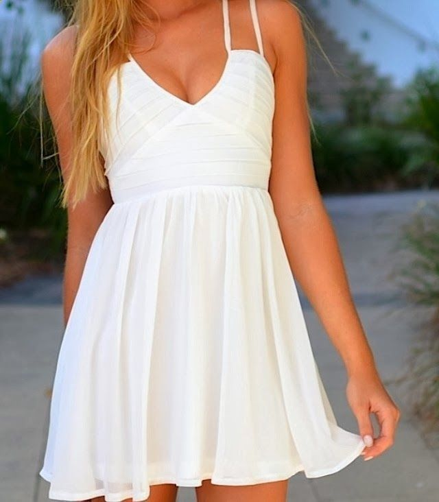 Double thin strap half white flowy summer dress
