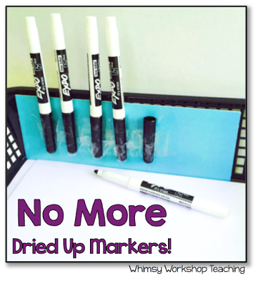 A simple idea to help with saving dry erase markers in class - I also have one student in charge of checking to make sure it's all done properly!