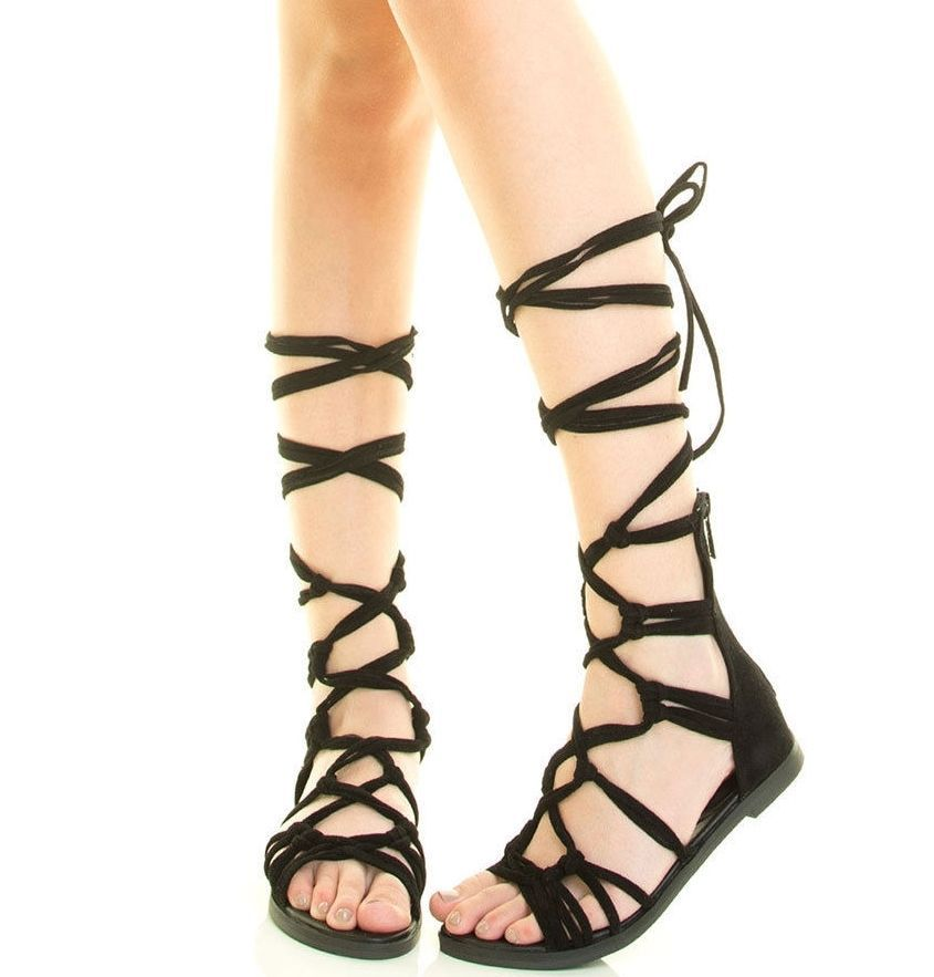 Women's Sandals Lace-Up Roman Gladiator Casual Flat Shoes