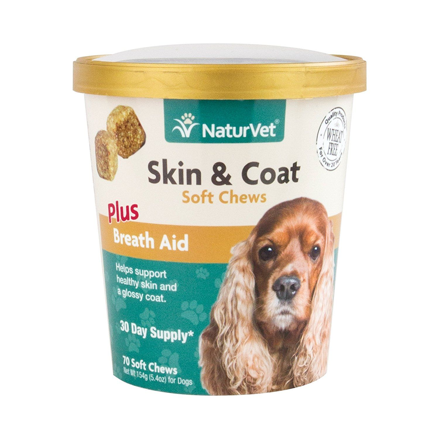 NaturVet Skin and Coat Plus Breath Aid for Dogs, 70 ct