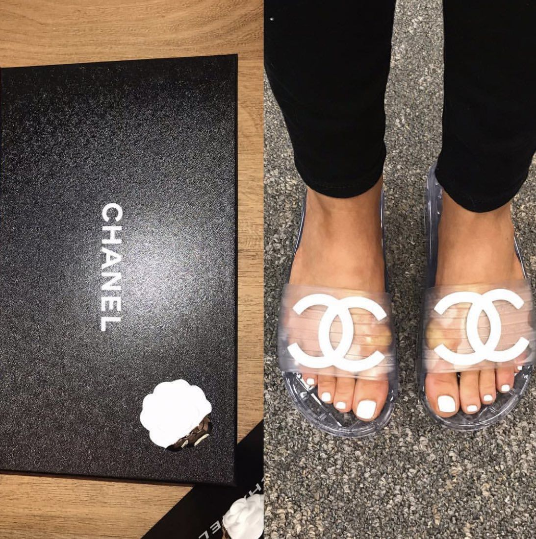 Clear sandals, Chanel slippers, Sandals