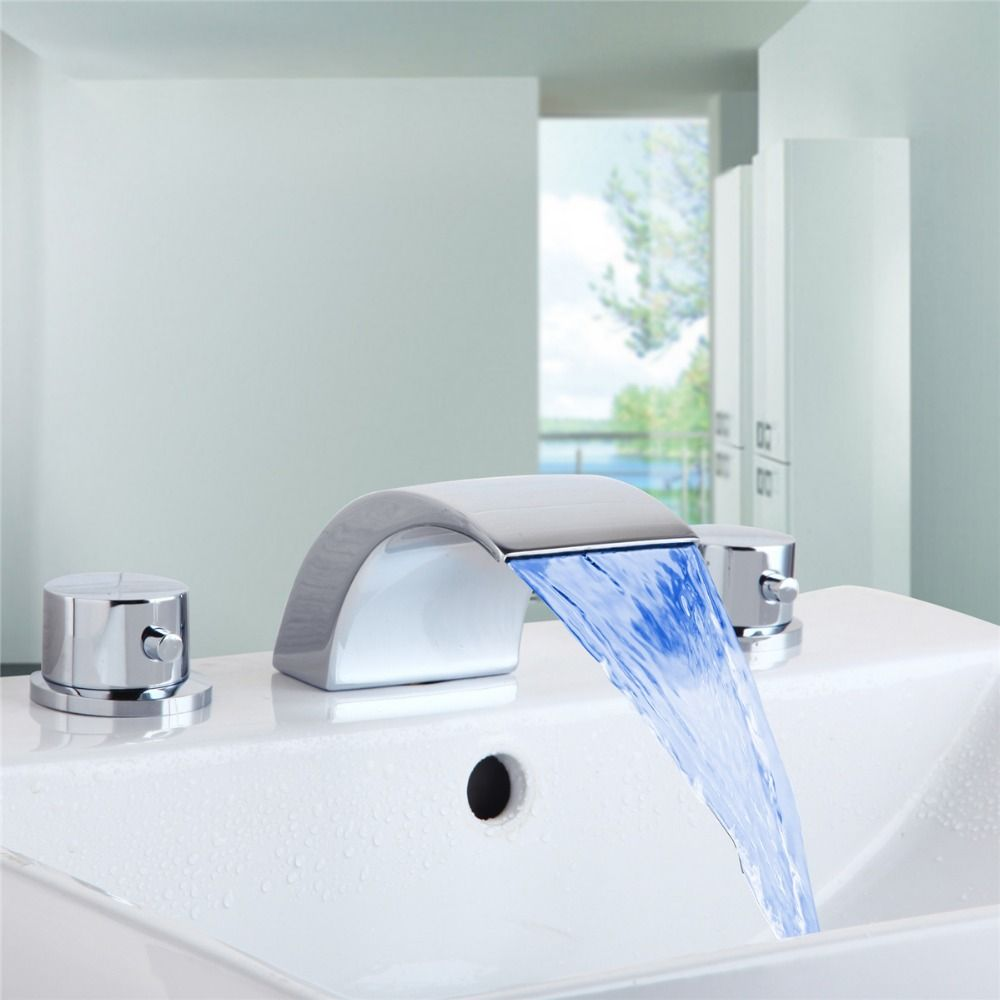Chrome LED 3Pcs widespread Faucet Bathtub Sink Waterfall Spout Mixer ...