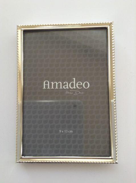 Amadeo Homedecor Bilderrahmen Perlendekor Silber Glanzend 9x13cm