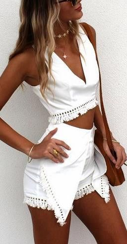 527af63a90a1c V-neck Sleeveless Blouse Shorts Tassel Two Pieces Set | future ...