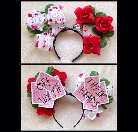 """The """"Painting the Roses Red"""" minnie ears // Disney ears // custom // Disneyland // hipster // festivals // edc on Etsy, $30.00"""