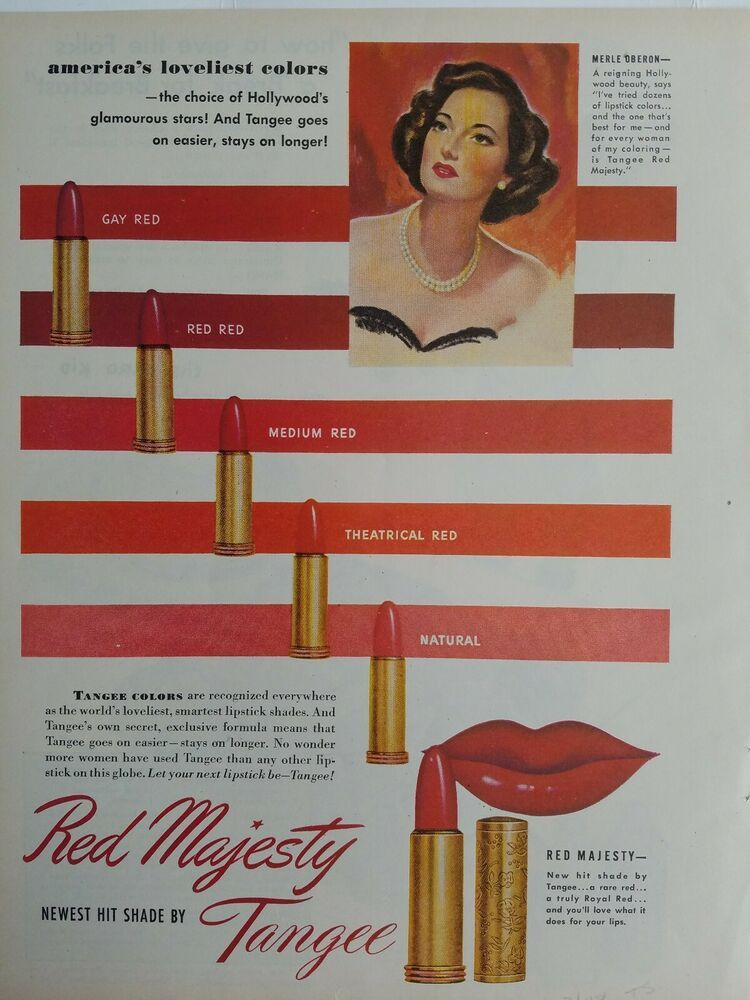 1948 Tangee red lipstick cosmetic America's loveliest colors Merle Oberon ad