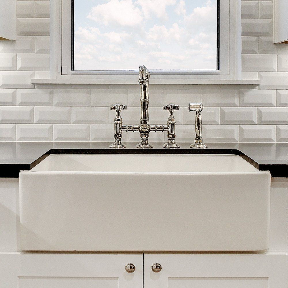 """30""""x18 Concave Front Reversible Fireclay Apron Farm Sink"""