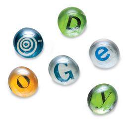 glass-gem magnet letters