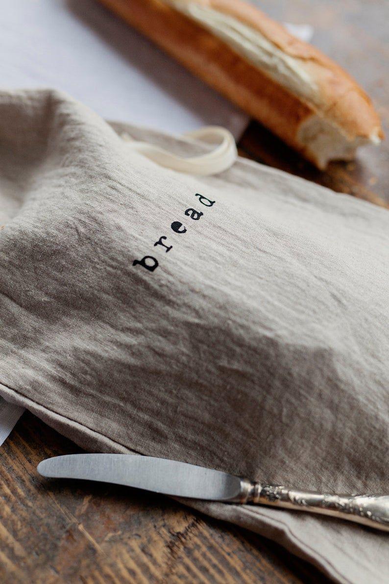 Bolsa de pan de lino impreso para almacenamiento de alimentos, con cordón. Forma sostenible y natural de conservar los productos