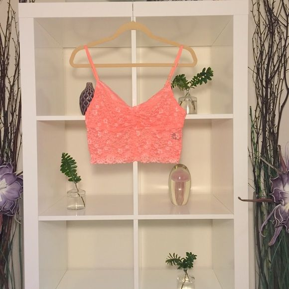 ⚡️️️️️FLASH SALE Lace Bralette Victoria's Secret Super cute bralette. Perfect for spring. I'm n great condition. Color is peach orange. Victoria's Secret Intimates & Sleepwear Bandeaus
