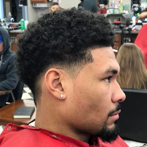Taper Fade With Curly Hair Temp Fade Haircut Fade Haircut Taper Fade Haircut