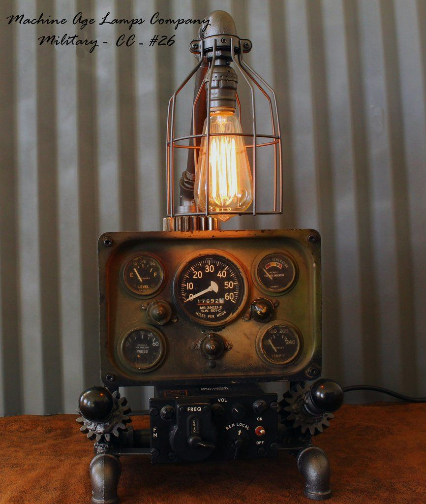 Military M38 Willys Jeep Dash Panel Feature Panel For This Lamp Is A Willys Jeep M38 Waterproof Gauge Instrument Panel W Lamp Steampunk Machines Military Decor