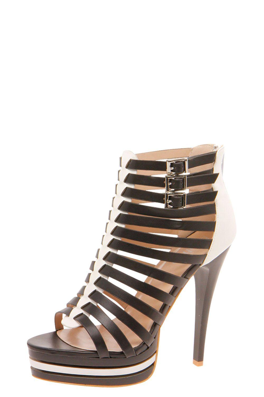 Cecile Buckle Trim Color Contrast Cage Heel