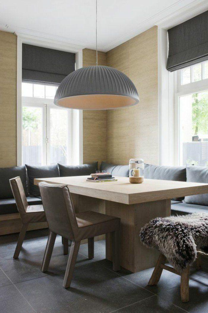 canap d angle gris avec grande table de salle manger design en bois