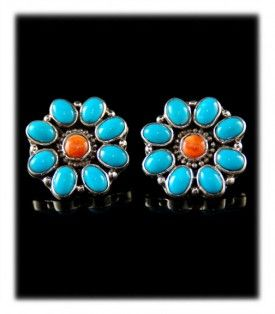 Blue Turquoise Post Earrings with Spiny Oyster Shell
