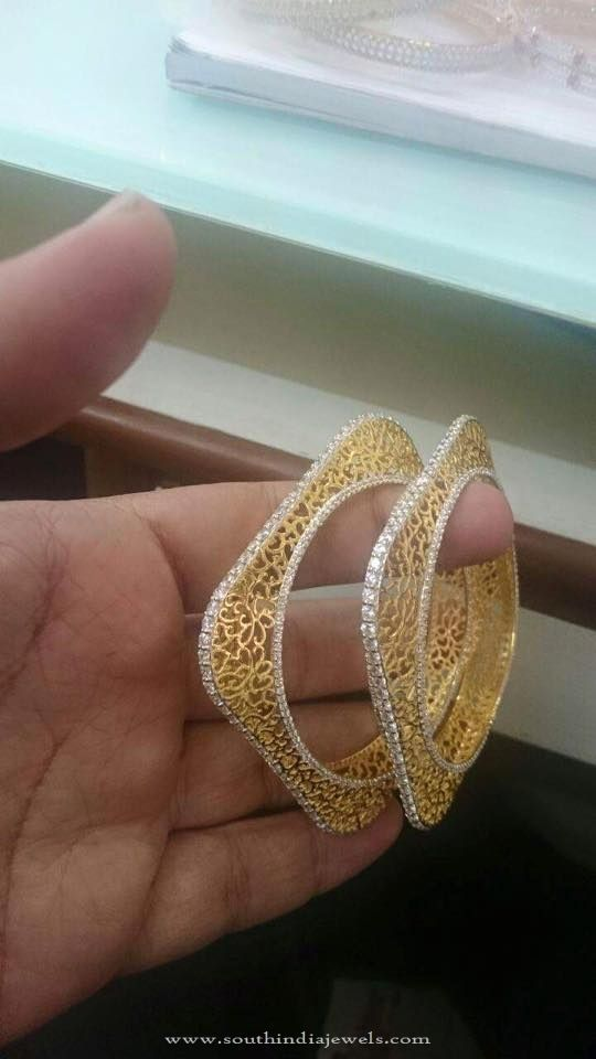gold two square details bangle designer bangles tone