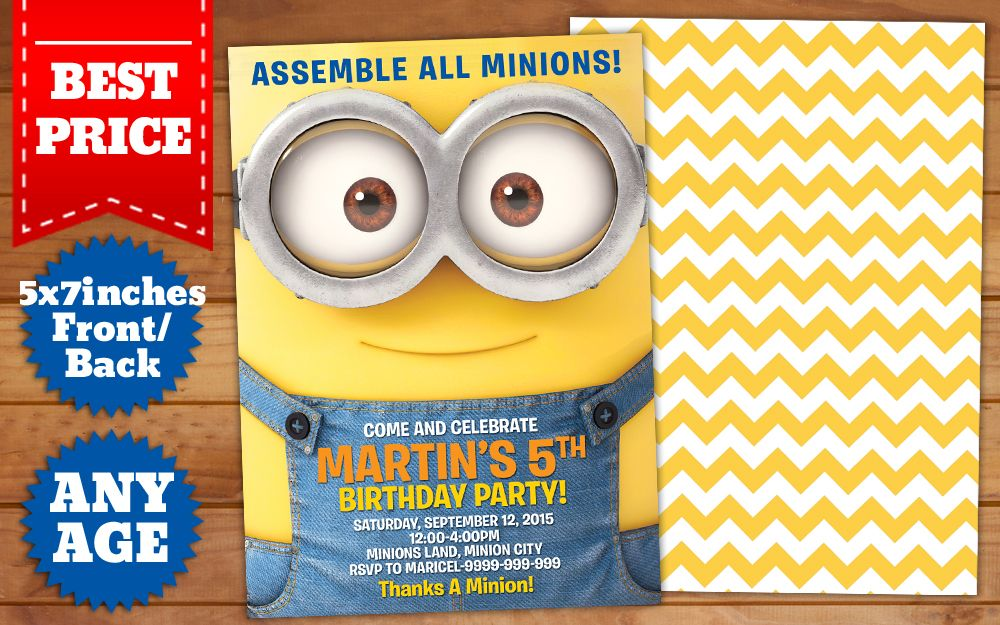 This Instant Downloadable Is For A Minions Birthday Invitation - Minions birthday invitation template