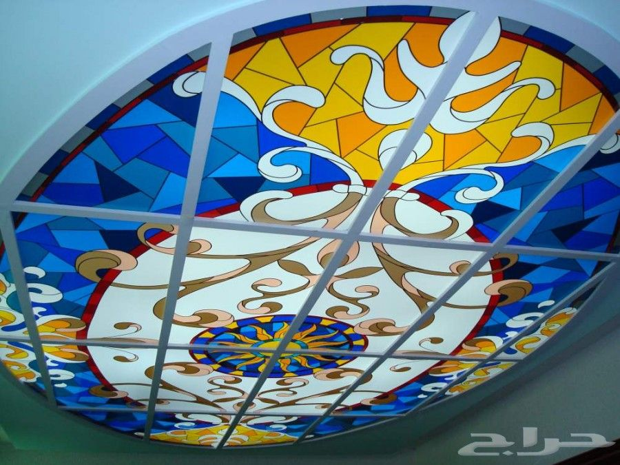 قبب سماوية زجاج معشق زجاج ملون شورات حمام شبابيك الالمنيوم Stained Glass Stained Glass Patterns Glass Painting