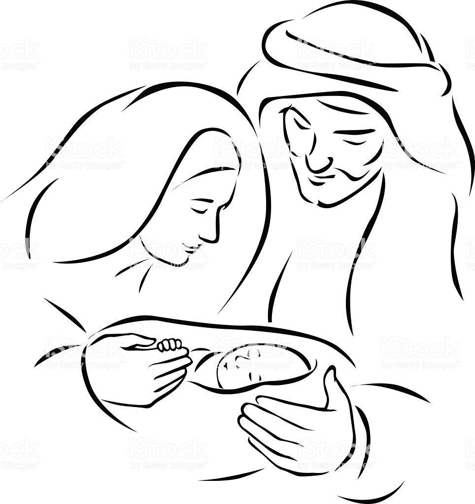 Christmas nativity scene with holy family - baby Jesus, virgin Mary...