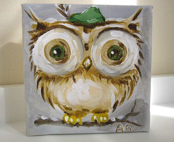 Mini Canvas Art Owl Original Painting Alpine By BlueSeaPaintShop 2200