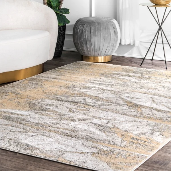 Porch Den Triangle Square Modern Abstract Foil Pattern Area Rug