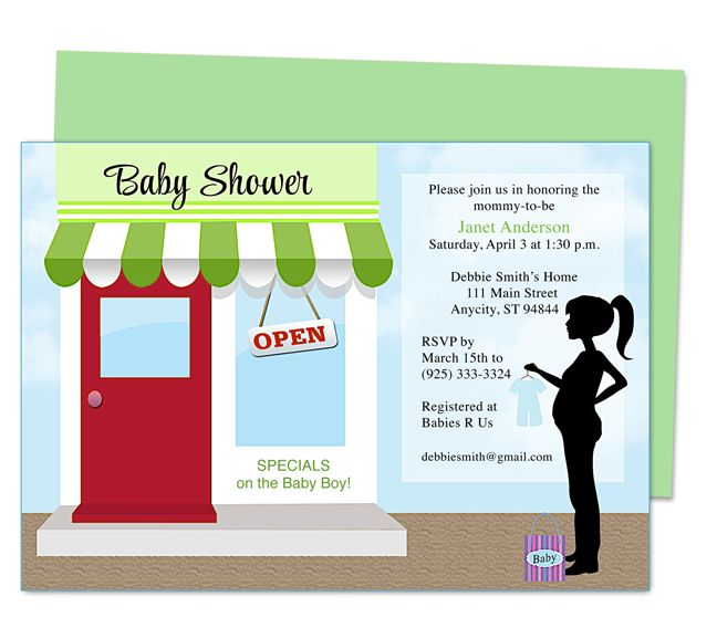 Cute little baby shower invitations Storefront Baby Shower Invite - publisher resume template