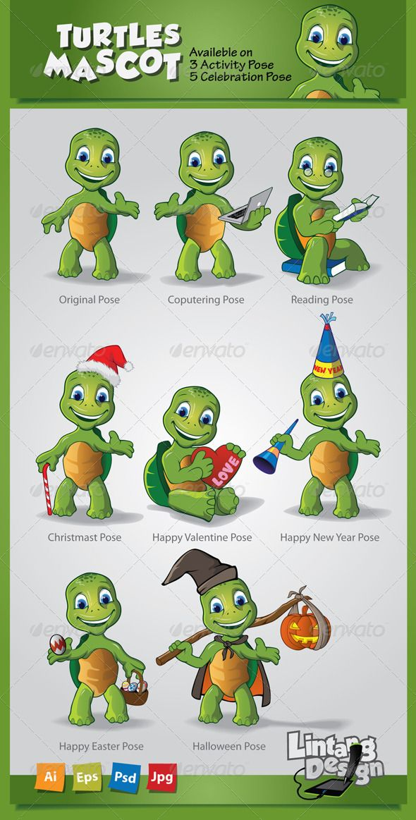 Turtle Mascot-001  #GraphicRiver