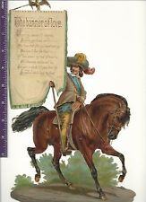 1890's Victorian Die Cut, Poetry, The Banner of Love, Horse & Soldier (P17)