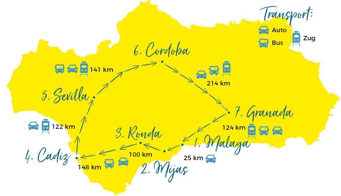 Karte Andalusien Cadiz.Andalusien Rundreise Individuelle Route Für Zwei Wochen Viele