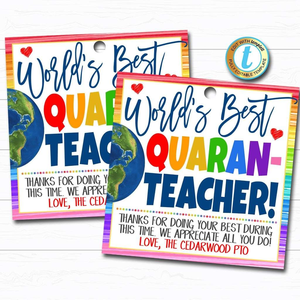 Virtual Teacher Appreciation Week Gift Tag - Thank You Staff School Pto Pta, Long Distance Online Learning, Quarantine DIY Editable Template