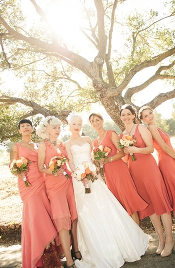 Inspired by these coral wedding ideas coral makeup for Coral wedding bridesmaid dresses