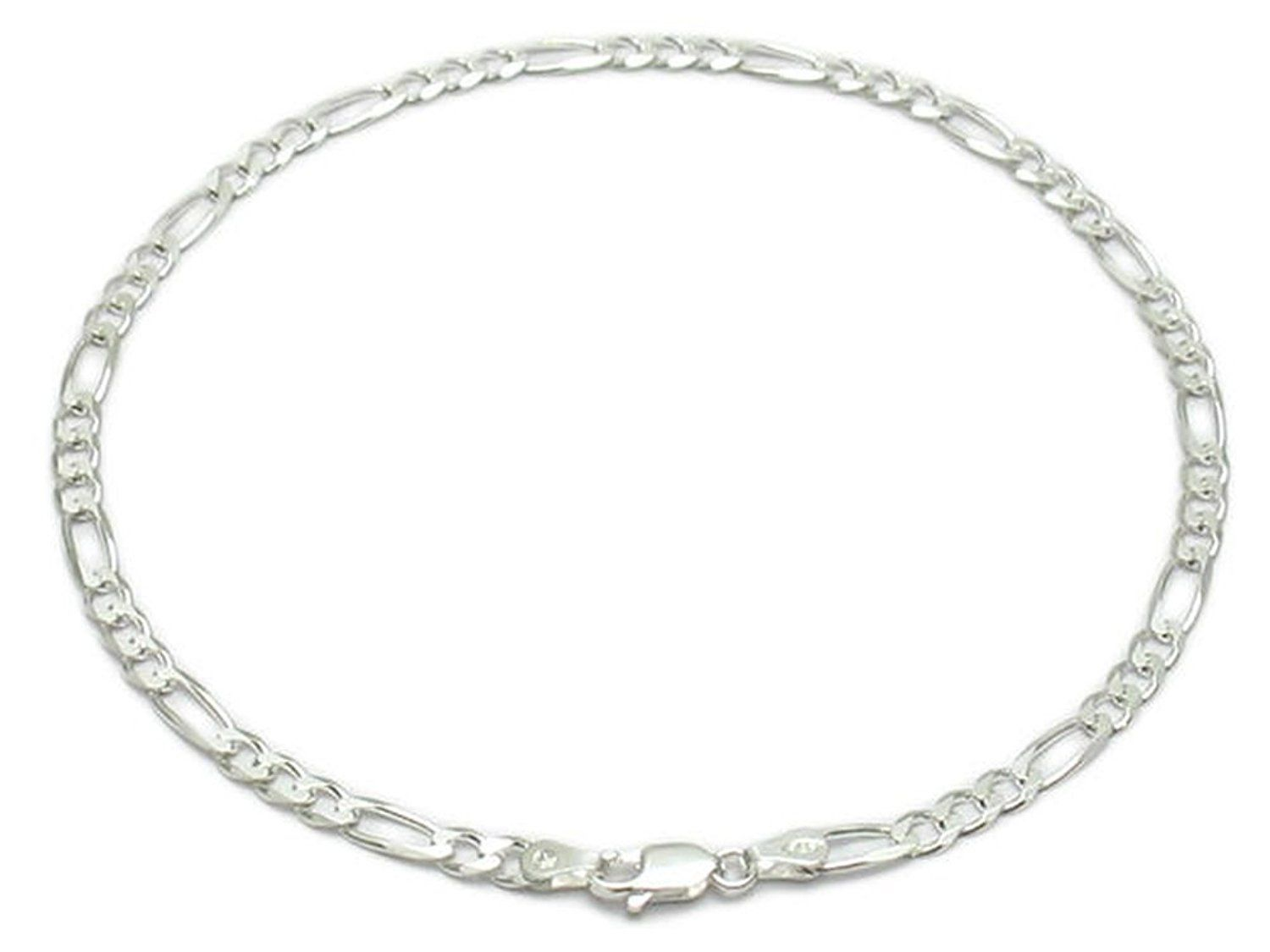 Sandra Creative Design Sterling Silver 9' 10' 11' 12' Figaro Anklet 4mm * More info could be found at the image url.