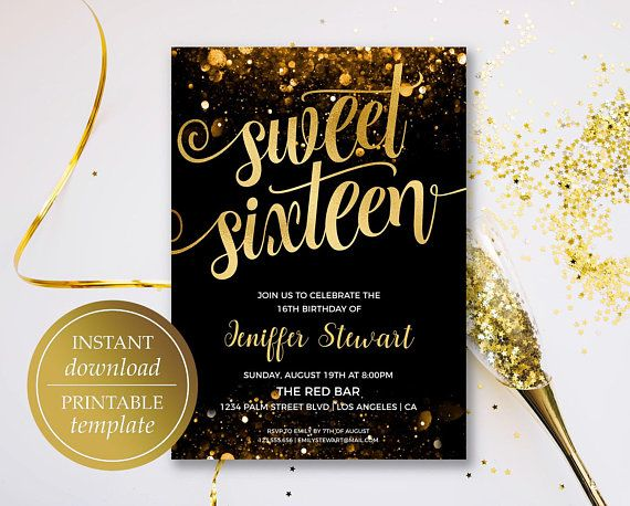 Sweet Sixteen Invitation, Birthday Invitation Template, Gold ...