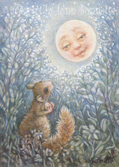 """Summer Night Moon with Squirrel"" by Lynn Bonnette"