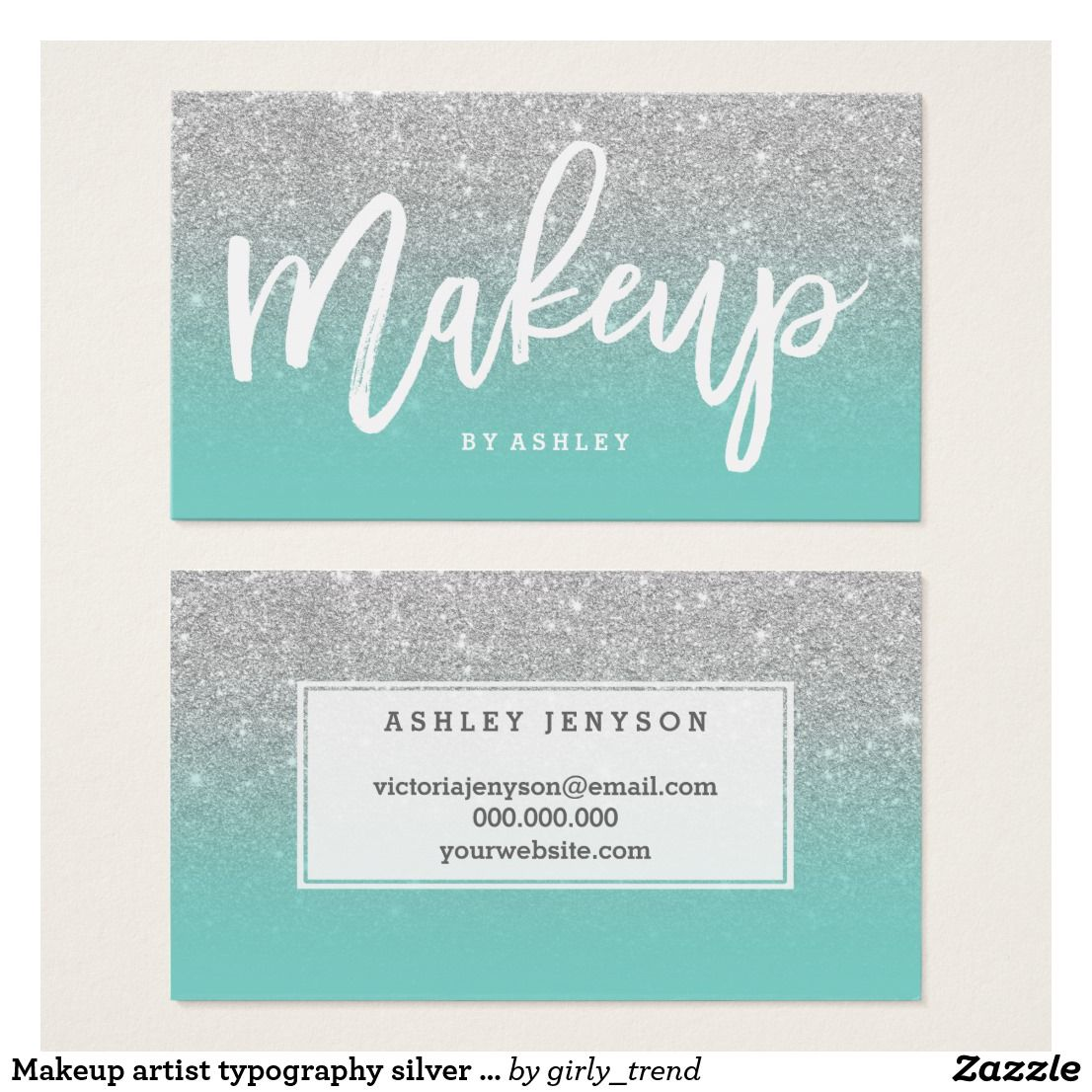 Makeup Artist Typography Silver Glitter Turquoise Business Card