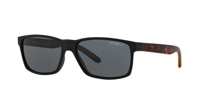 12a1bd7714 Arnette Mens Slickster Sunglasses (AN4185) Black Matte Grey Plastic -  Polarized…