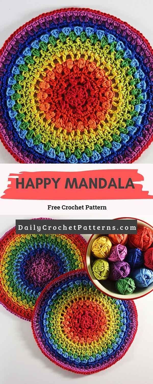 Happy Mandala Free Crochet Pattern #crochetmandalapattern
