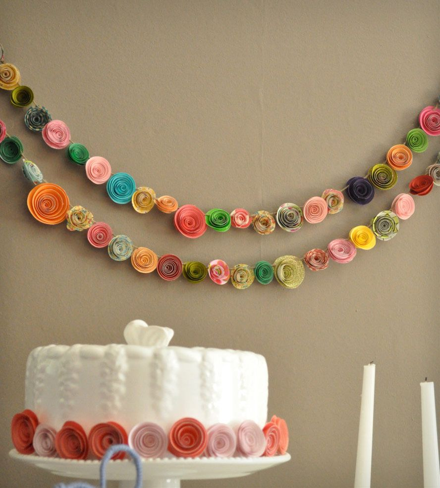 Colorful Paper Flower Garland Set Of 2 Celebrate Event And