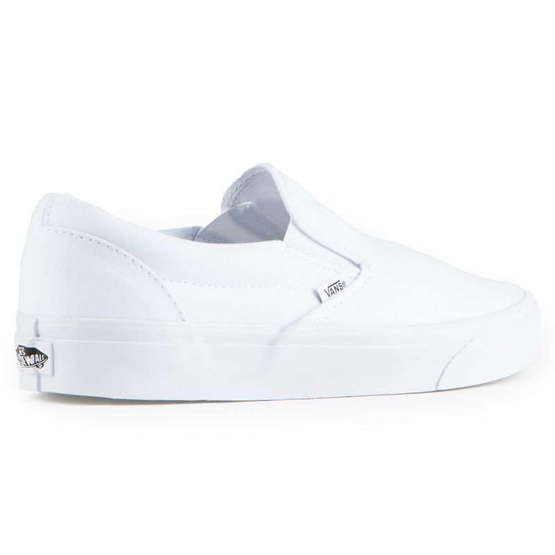 9205f21bc8 The Vans Classics Slip-On Men s Shoes in the True White Colorway is a  Canvas Classic Slip-on that has a low profile